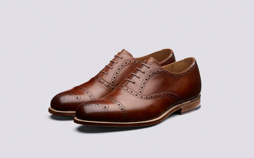 Matthew | Mens Tan Handpainted Brogue on Leather Sole | Grenson - Main View