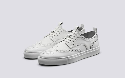 Grenson Sneaker 3 in White Calf Leather - 3 Quarter View