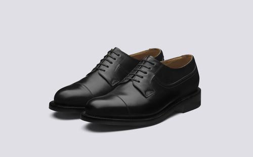 Grenson Shoe No.10 in Black Calf Leather - 3 Quarter View