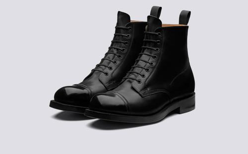 Grenson Shoe 9 in Black Calf Leather - 3 Quarter View