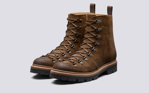 Brady | Mens Hiker Boots in Snuff Suede Commando Sole | Grenson Shoes - Main View