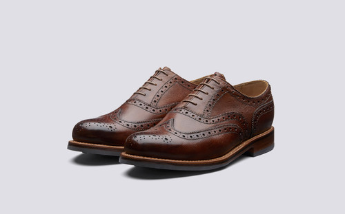 Grenson Stanley in Tan Hand Painted Grain - 3 Quarter View