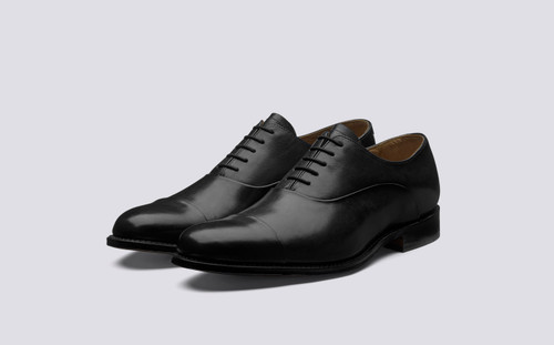 Grenson Bert in Black Calf Leather - 3 Quarter View