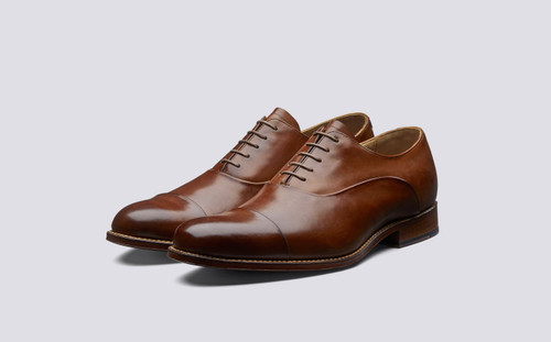 Grenson Bert in Tan Hand Painted Calf Leather - 3 Quarter View
