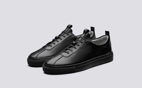 Sneaker 1 | Sneakers for Men in Black Leather | Grenson - Main View