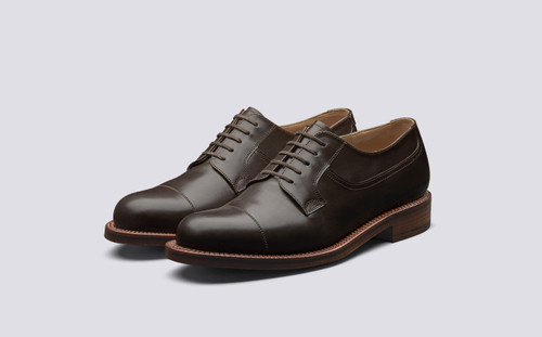 Grenson Shoe No.10 in Brown Aniline Calf Leather - 3 Quarter View