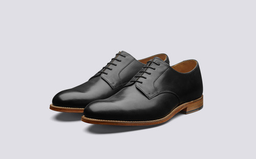 Liam | Mens Black Shoes with Leather Sole | Grenson  - Main View