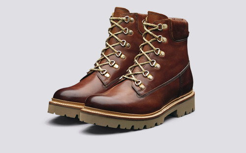 Rutherford | Mens Hiker Boots in Tan Handpainted Leather | Grenson - Main View