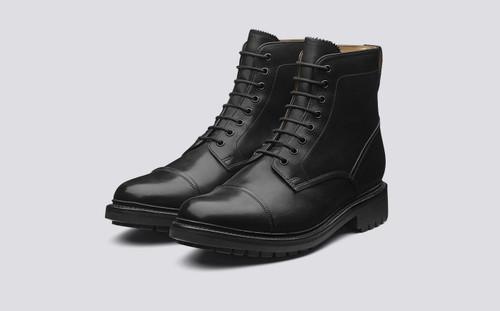 Grenson Joseph in Black Calf Leather - 3 Quarter View