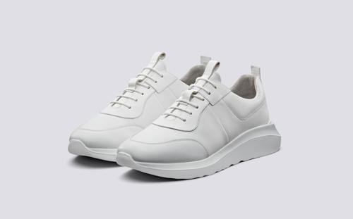 Sneaker 20 | Mens Sneakers in White Leather with Chunky Rubber Sole | Grenson - Main View