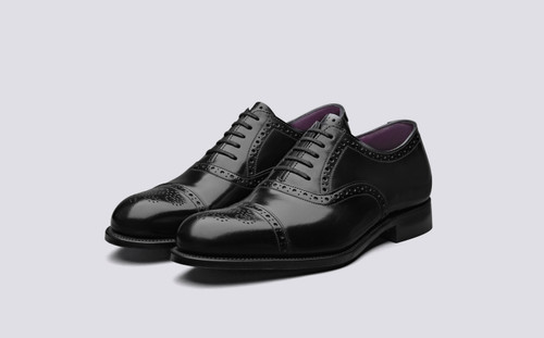Grenson Walbrook in Black Calf Leather - 3 Quarter View