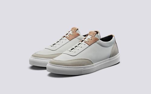 Grenson M.I.E. Sneaker Men's in White Suede/Nubuck - 3 Quarter View