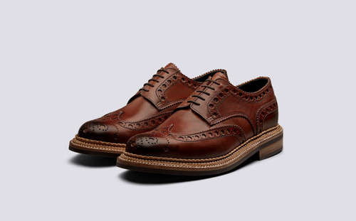 Grenson Archie in Tan Hand Painted Calf Leather - 3 Quarter View