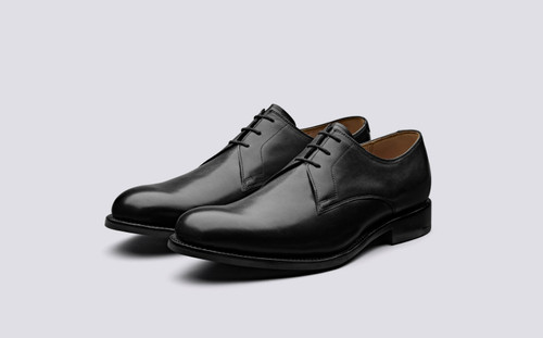 Gardner | Derby Shoes in Black Leather | Grenson - Main View