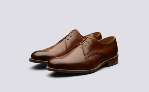 Gardner | Derby Shoes in Tan Handpainted Leather | Grenson - Main View
