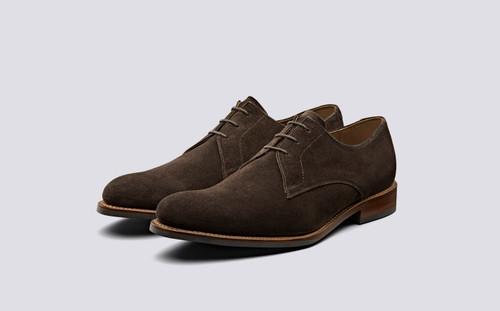Gardner | Derby Shoes in Chocolate Suede | Grenson - Main View
