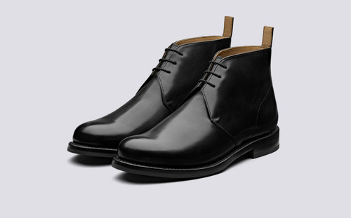 Wendell | Mens Chukka Boots in Black Calf Leather | Grenson - Main View