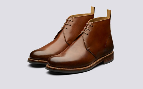 Grenson Wendell in Tan Hand Painted Calf Leather - 3 Quarter View