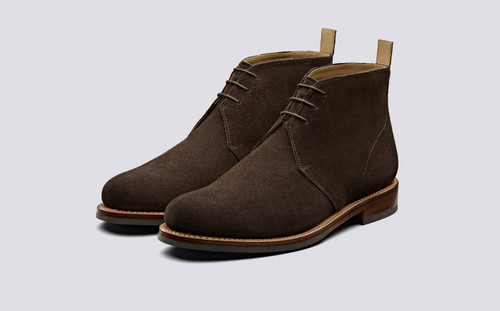 Grenson Wendell in Brown Suede - 3 Quarter View
