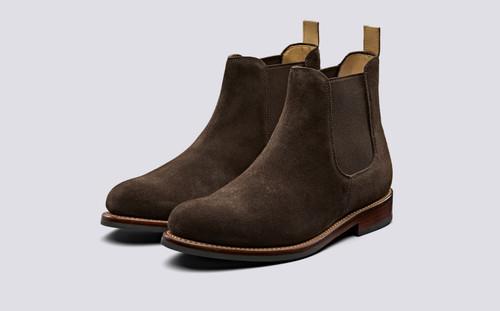 Warren | Chelsea Boots in Chocolate Suede | Grenson - Main View