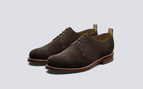 Wade | Derby Shoes in Chocolate Suede | Grenson - Main View