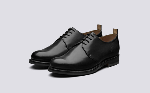 Wade | Derby Shoes in Black Leather | Grenson - Main View