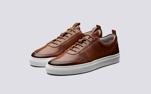 Grenson Sneaker 22 Men's in Tan Hand Painted Calf Leather - 3 Quarter View