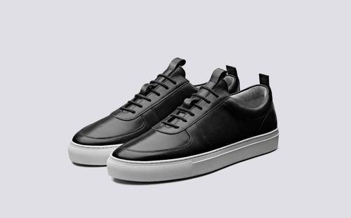 Grenson Sneaker 22 Men's in Black Calf Leather - 3 Quarter View