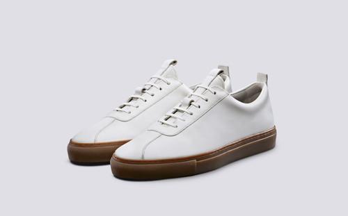 Grenson Sneaker 1 Men's in White Calf Leather - 3 Quarter View