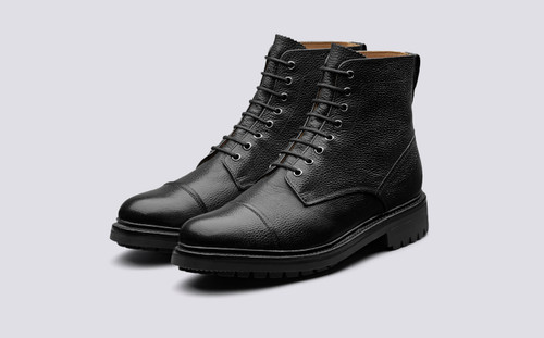 Joseph | Mens Boots in Black Country Grain | Grenson - Main View