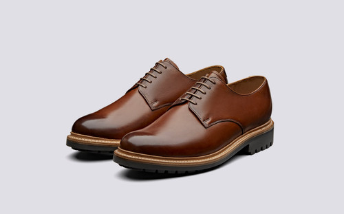 Grenson Curt in Tan Hand Painted Calf Leather - 3 Quarter View