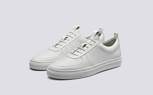 Grenson Sneaker 22 Men's in White Calf Leather - 3 Quarter View