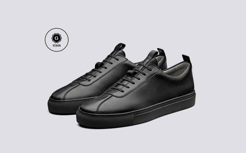 Grenson Sneaker 1 Men's in Black Vegan Grain - 3 Quarter View