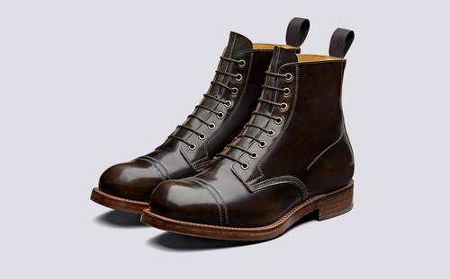 Grenson Shoe 9 in Brown Hi Shine Leather - 3 Quarter View