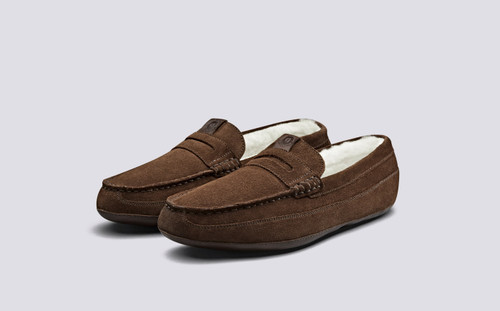 Sly | Men's Slippers in Cigar Suede | Grenson - Main View