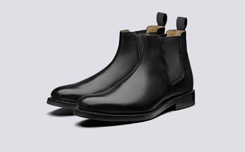 Grenson Declan in Black Calf Leather - 3 Quarter View