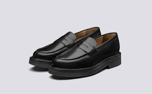Grenson Peter in Black Calf Leather - 3 Quarter View