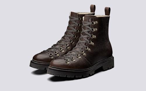 Brady | Mens Hiker Boots in Brown Natural Grain | Grenson - Main Vew