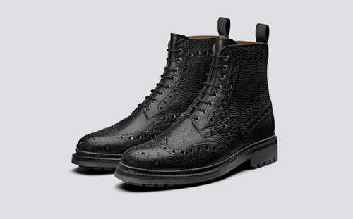 Fred   Leather Boots in Black Natural Grain   Grenson - Main View