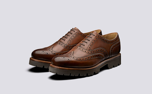 Grenson Stanley in Tan Hand Painted Calf Leather - 3 Quarter View