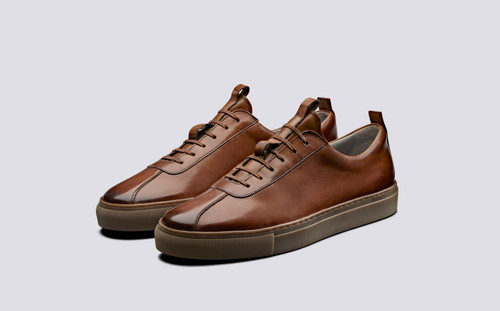 Grenson Sneaker 1 Men's in Tan Hand Painted Calf Leather - 3 Quarter View