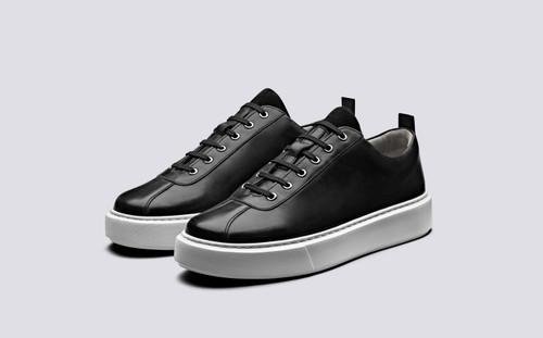 Grenson Sneaker 30 Men's in Black Calf Leather - 3 Quarter View