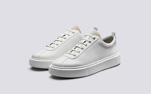 Grenson Sneaker 30 Men's in White Calf Leather - 3 Quarter View