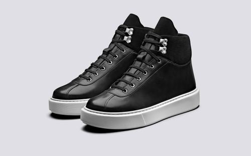 Grenson Sneaker 31 Men's in Black Calf Leather/Suede - 3 Quarter View