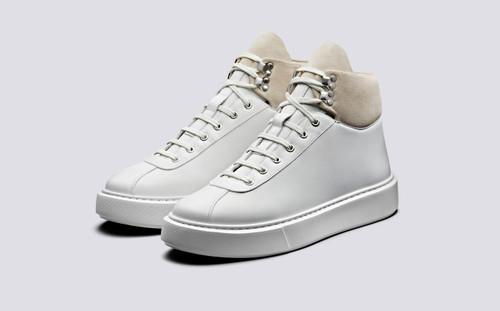 Grenson Sneaker 31 Men's in White Calf Leather/Suede - 3 Quarter View