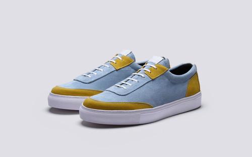 Grenson M.I.E. Sneaker Men's in Blue Suede - 3 Quarter View