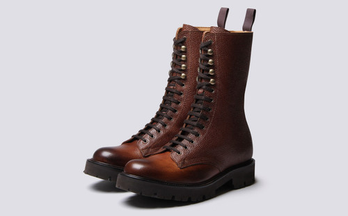 Grenson The 14 Eye in Brown Rusticalf Leather - 3 Quarter View