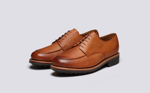 Grenson Parker in Tan Hand Painted Calf Leather - 3 Quarter View