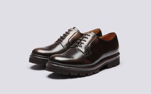 Grenson Melvin in Brown Hi Shine Leather - 3 Quarter View