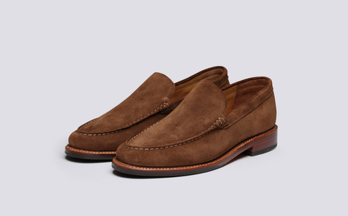Grenson Paul in Brown Suede - 3 Quarter View